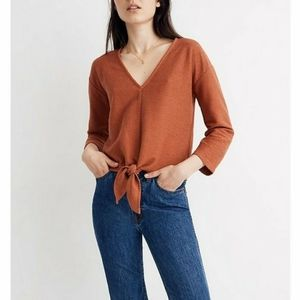 Madewell Texture & Thead Orange Ribbed Crop Top